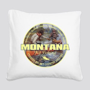 Montana Fly Fishing Square Canvas Pillow